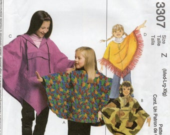 McCall's 3307 Children's And Girls Ponchos And Pull-On Pants Size Med-Lrg-Xlg Uncut Pattern Copyright 2001