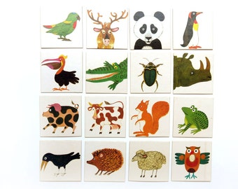 16 Vintage Lot 1970s Animal Memory Playing Cards Bingo Game Pieces Scrapbooking Supplies 70s Paper Ephemera Pack Images  Cards Board Game