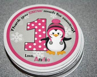 Winter PENGUIN Favor Gift Tags / Penguin Gift Tags / Penguin Favor Tags / Penguin Party Tags / Penguin Birthday Party / Penguin Baby Shower