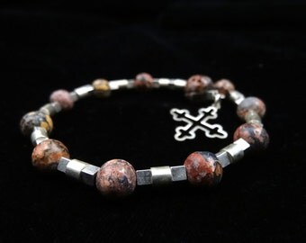 Agate Memory Wire Rosary Bracelet