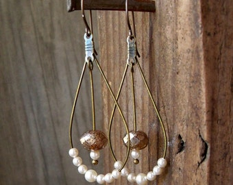 Hypoallergenic - Hoop Earrings - Wedding Jewelry - Ivory Pearl Earrings - Titanium Earrings - Bridal Jewelry - Vintage Style