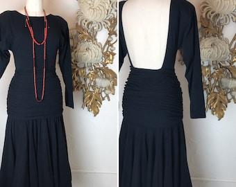 Fall sale 1980s dress black dress jersey dress 80s dress backless dress size small medium Vintage dress midi dress