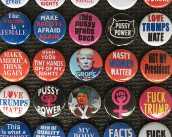 Women's march slogan buttons