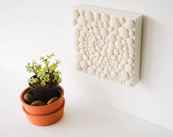 Wall Art wall hanging abstract art ceramics and pottery original porcelain white home decor ceramics and pottery tile modern wall art design