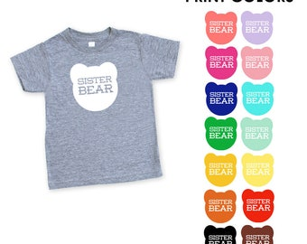 Sister Bear Kid's Toddler's Heather Grey Triblend TShirt - Big Sister, Little Sister, Expecting, Announcement, Baby Shower