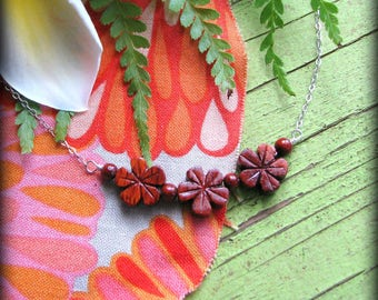 Hawaii Plumeria Floral Necklace - Wood Three 3 Flowers - Gift Birthday Graduation Daughter Wife Mother Mom Sister Cousin Bride Bridesmaids