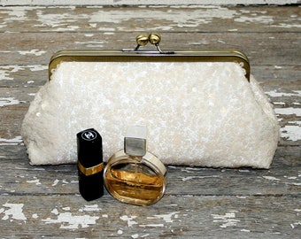 Bridal Clutch | Wedding Purse | Sequin Clutch | Ivory Clutch I Ivory Sequin Clutch Purse