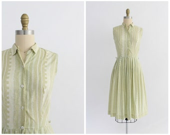 vintage 1950s sage green and white stripe patterned dress | vtg 50s cotton day dress | x-small XS