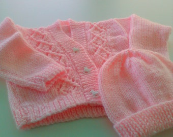 Hand knitted baby sweater and bonnet, infant sweater set, newborn, shower gift