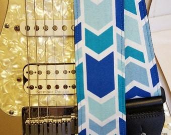 shades of blue chevron stripe indie guitar strap