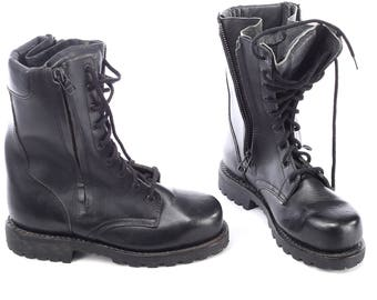 Combat Platform Boots for Men 80s Black MILITARY Thick Leather Heavy Lace Up Rugged Sole Steampunk Rock Biker size Men Us 8, Eur 41, Uk 7.5