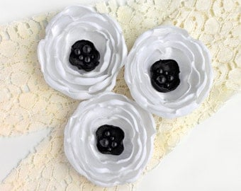 Fabric anemones - black and white wedding flowers, handmade fabric flowers, flower supplies, applique flowers, shabby chic flowers, bouquet