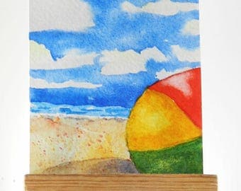 Beach Ball ACEO Original Watercolor Painting Kids Beach Fun Art Seascape Ocean Art Happy Place Painting Florida Beach Vacation Tiny Art Sea