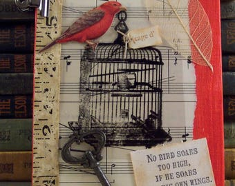 Red Bird Cage Collage - William Blake Quote Art - Mixed Media Bird - 3D Assemblage Altered Art Canvas