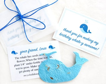 15 Plantable Whale Birthday Party Favors with Flower Seeds - Plantable Paper Whales
