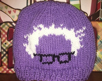 Bernie Sanders beanie hat, knitted, purple and white, Bernie 2020, protest march