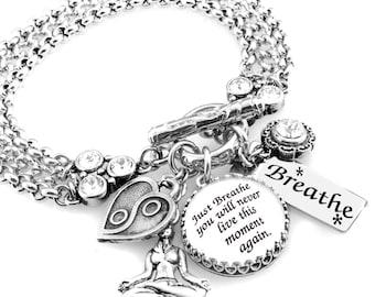 Inspirational Bracelet, Silver Inspirational Jewelry, Stainless Steel Charm Bracelet, Just Breathe