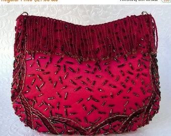 20% SALE Vintage La Regale Valentines Red Satin Clutch Beaded Fringe Front Purse Formal Holiday Handbag Green Gold Beads Long Chain Hide Awa