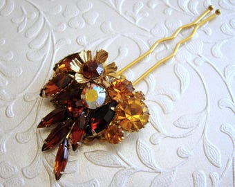 Amber Rhinestone Hair Comb Vintage Jewelry Hairpiece Wedding Headpiece Bohemian Chic Bride AB Gold Brown Yellow Prom Pageant Hair Accessory