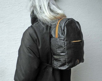 Black Leather Backpack - Backpack Purse - Recycled Leather - Rucksack Bag - Bavarian Rucksack