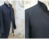 Vintage Antique 1850/1900 Victorian  French men black wool jacket paletot timeworn