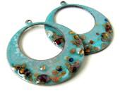 Blue Enamel Earring Hoop Charms