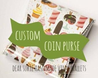 Custom Handmade Vinyl Coin Purse  / wallet, vegan, change, snap, small, little, pocket wallet, gift, unique, personalised, women, dear sukie