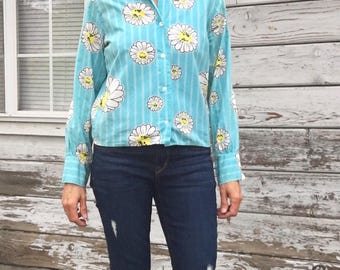 Vintage 60s,70s shirt,psychedelic,floral,unique,Japan,cotton,daisy,striped,cute,cropped,boho,hipster,hippie