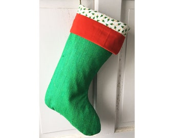 Green Silk Christmas Stocking - Red Velvet Cuff and Christmas Pine Tree Lining Ready to Ship