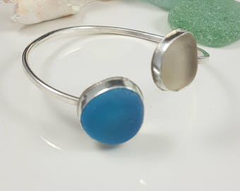 Sea Glass Bracelet Sea Glass Jewelry Cuff Bracelet Electric Blue Sea Glass Bracelet Sea Glass Jewelry - B-274