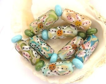 8 Etched Tube Beads and 9 Spacers Handmade Lampwork
