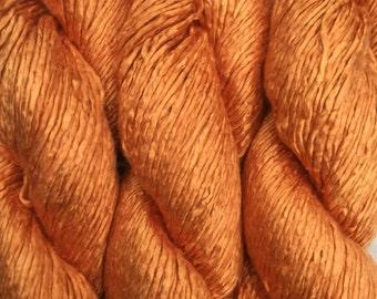 Hand Dyed Worsted weight Silk Yarn - Jaffa Orange OOAK