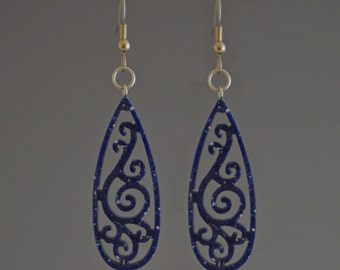 Blue Teardrop Filigree Dangle Earrings - Upcycled Corian Handmade Recycled Jewelry by Mark Noll - Gift for Her
