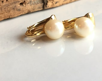 Vintage Clip On Faux Pearl Earrings, Vintage Clip Ons, Faux Pearls, Glass Pearl Earrings, Simple Earrings, Etsy, Etsy Jewelry