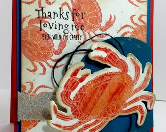 Crab Card, Crabby Card, Blank Crab Card, Thanks for Loving me card, Crabby sorry card
