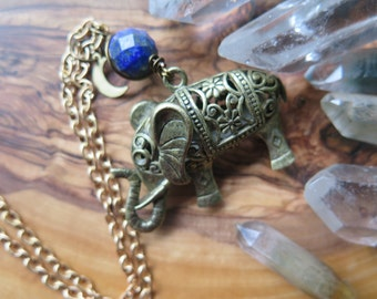 Long Elephant Stone Crystal Necklace - Bohemian Pendant - Turquoise Blue Earthy Brown - Tribal Gypsy Carved -  Festival Boho - Brass Chain