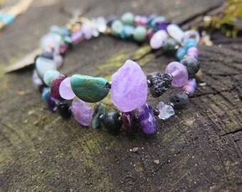 Mystical Double Wrap Bracelet - Boho Stone Jewelry - Bohemian Free Spirited Feather - Gypsy Jewels - Turquoise Purple Raw Hippie Adjustable