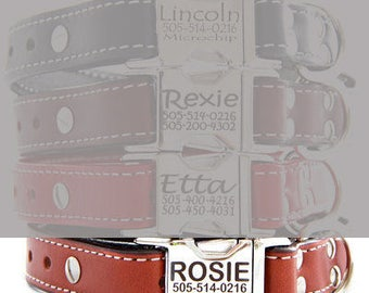 Engraved Buckle Personalized Leather Dog Collar  -- Light Brown
