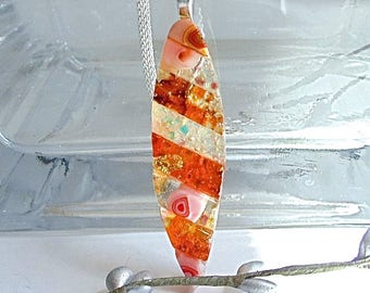Orange Necklace, Amber, Dichroic Glass Pendant, Fused Glass Jewelry, One of a Kind, Murrini, Necklace Included, A2