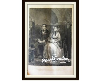 """Victorian First Love/Engagement Plate/Print Original Print 1870 9 1/4"""" x 5 1/2"""" First Time of Asking"""