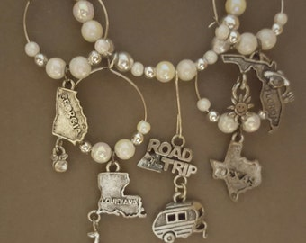Road Trip RV Travel Wine Glass Markers/Charms