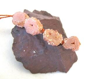 Sparkly Druzy Slice Agate Tab Stone  Rust Peach Coated Rustic Crusty Rough Organic Earthy Bead - set of four