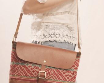 SALE Boho Laptop Bag, Boho Crossbody, Kilim Bag, Peruvian Bag, Ready to Ship, Boho Chic Bag, Leather Bag, Leather Crossbody