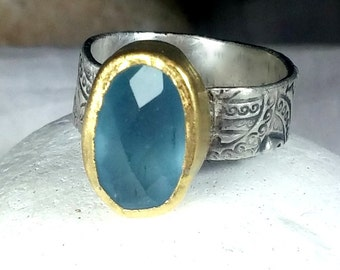 Aquamarine Statement Ring, Solitaire Ring,  22 kt yellow  gold , silver  and Stone ring, Aquamarine silver and gold ring