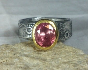 Tourmaline Ring, Solitaire Ring, silver and 22 kt yellow gold ring,  Tourmaline stone ring