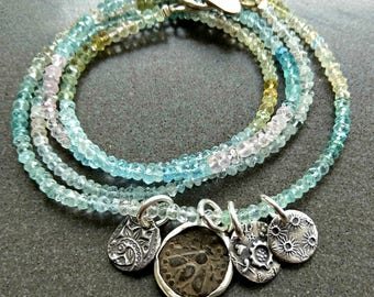 Ancient Greek Bee Coin charm Bracelet, Aquamarine strand wrap Bracelet, interchangeable necklace and Bracelet, ancient coin jewelry