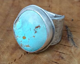 Turquoise ring, American Turquoise Statement Ring, Chunky Silver and  turquoise  Solitaire Ring, turquoise Jewelry, rustic turquoise ring