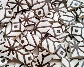 Mosaic Tiles--Geometrical Dark Brown  Design -66 pieces.  Ready to Rock your Mosaic