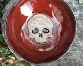 Small Skull Bowl in Maroon