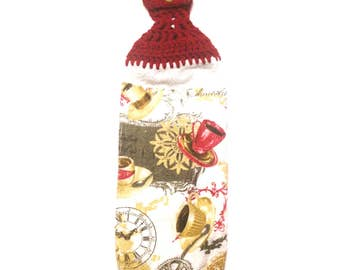 Coffee Cups Hand Towel With Claret Crocheted Top And Bottom